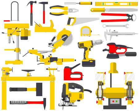 Vista superior de un conjunto aislado de herramientas para la reparación de un carpintero en un fondo blanco. Tratamiento de la madera y la carpintería, herramientas de construcción. ilustración vectorial