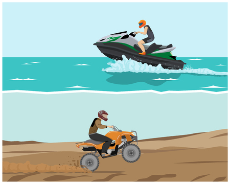 quad: The man is engaged in extreme sports. Quad bike and watercraft. Vector illustration