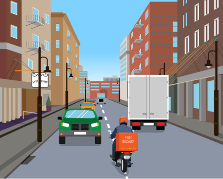 dense: Courier on a scooter in a hurry to bring delivery via dense city traffic. Vector illustration Illustration
