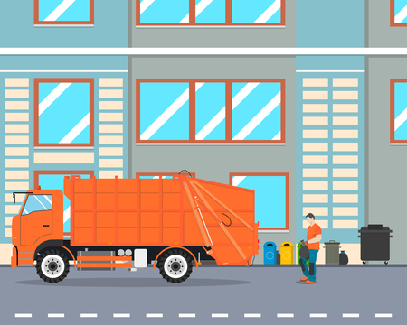 collect: The worker collect garbage in a garbage truck to take him out of the city. Cleaning equipment. Vector illustration Illustration