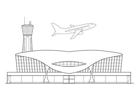 Delgada línea de diseño plano. Avión despega desde el aeropuerto en un bello fondo blanco aislado. ilustración vectorial