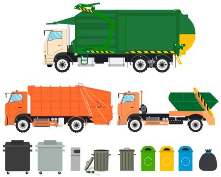 Ensemble de camions à ordures isolées avec des chars sur un fond blanc. Machines de nettoyage. Vector illustration