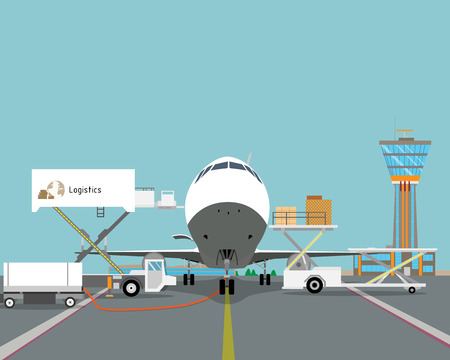 Loading boxes of the platform in the cargo plane at the airport. Vector illustration