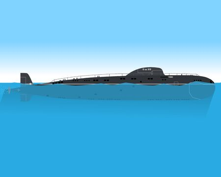 water carrier: The modern submarine is floating in the sea on a combat mission. Vector illustration