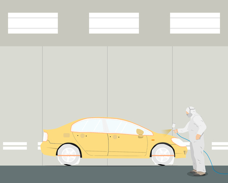 paint spray gun: Inside of the working room interior painting cars. Diagnosis and repair of the car. Vector illustration