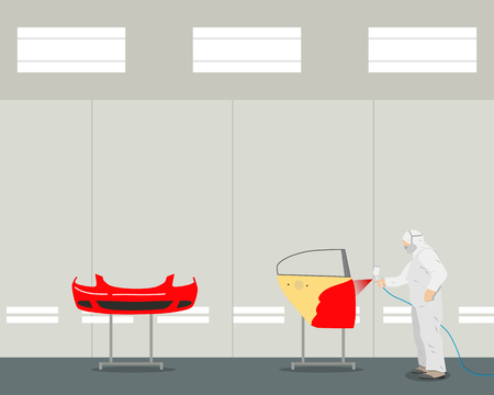 coating: Inside of the operating room for interior painting of cars and parts. Diagnosis and repair of the vehicle. Vector illustration