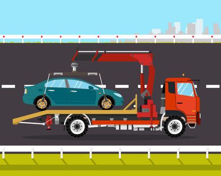 Dépanneuse conduit sur le chemin de la ville voiture cassée. Vector illustration