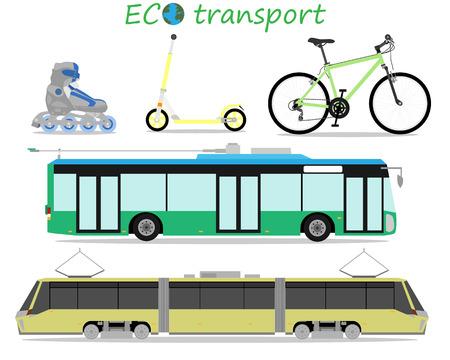 environmentally: Icons of environmentally friendly urban transport. Vector illustration Illustration