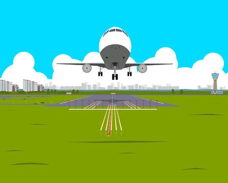 Vliegtuig stijgt op vanaf de luchthaven in de middag op een achtergrond van de stad. vector illustratie