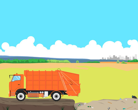 came: Garbage truck came out of the city to the landfill to unload garbage. Cleaning equipment. Vector illustration
