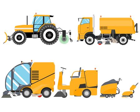 Heavy Equipment per la pulizia Road e al coperto. Macchine per la pulizia. lavori stradali. illustrazione di vettore