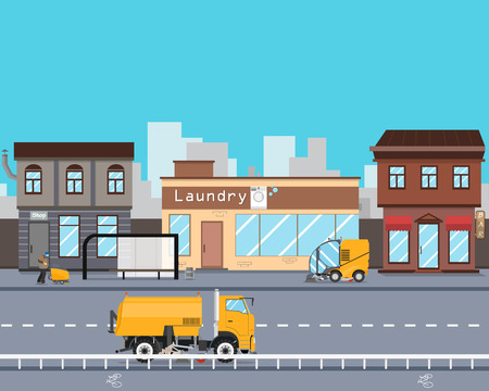 road works: Heavy Equipment cleans the streets of the city from garbage and dust. Cleaning equipment. Road works. Vector illustration
