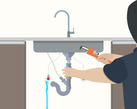 kitchen sink: Plumber repairing leaking pipe under the kitchen sink. Vector illustration Illustration