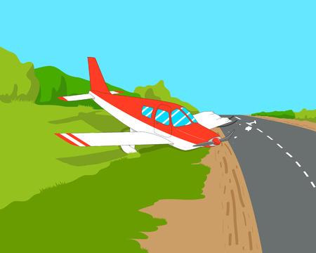 emergency light: Light aircraft made an emergency landing on a highway.
