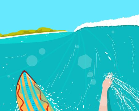 conquering: Surfer engaged in extreme sports conquering the waves near the beach. Illustration