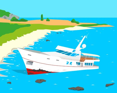 negligence: Due to the negligence of the captain of a tourist ship ran aground. Vector illustration