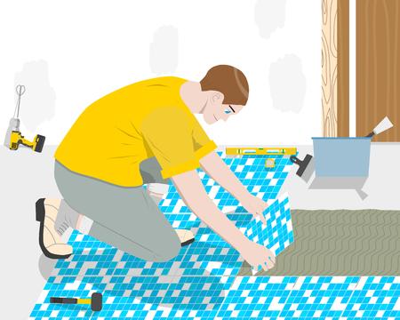 bathroom tiles: Worker builder places the floor tiles in the bathroom. Vector illustration