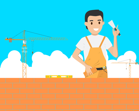 bricklaying: Bricklaying work in the construction of a building on a construction site. Vector illustration