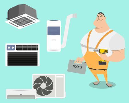 Stel airconditioners op een eenvoudige achtergrond met werk. vector illustratie