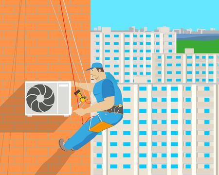 Work met le climatiseur sur le mur extérieur de la maison à l'aide de l'équipement d'escalade. Illustration vectorielle