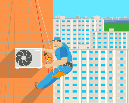 Work sets the air conditioner on the outside wall of the house with the help of climbing equipment. Vector illustration