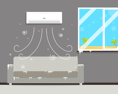 though: Air conditioning in the room Creates a winter though outside the summer. illustration
