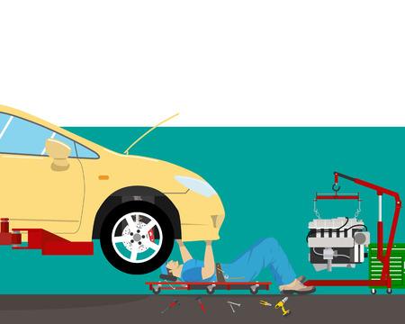 Inside the garage, the mechanic lying under the car doing repairs. Car repair. illustration Illustration