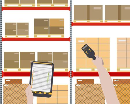 barcode scanner: Worker checks for a large warehouse with cargo using a barcode scanner. illustration Illustration