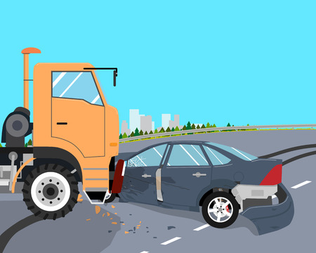 The driver did not have time to slow down and the car crashed into a truck. illustration Vetores