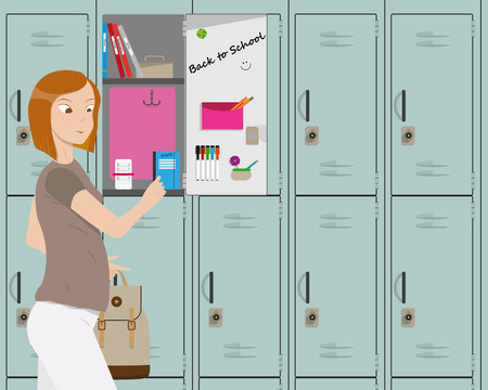 returned: The girl returned to school after the holidays and take textbooks in the locker. illustration
