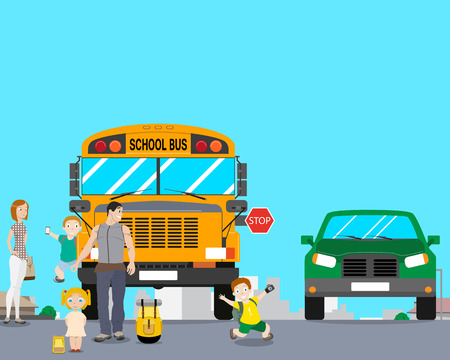run out: School bus arrived an excursion and the children after the landing began to play and run out into the roadway. illustration