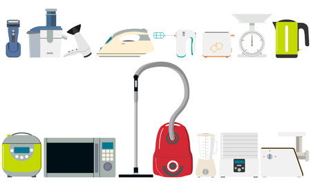 household appliances: A set of isolated small household appliances for the home and kitchen on a white background. Vector illustration