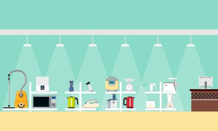 Une affiche avec une vue sur l'intérieur du magasin de petits appareils ménagers. Illustration vectorielle