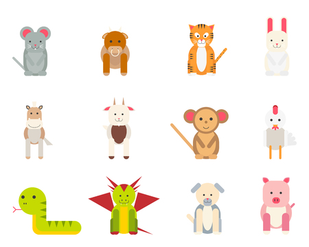 year of snake: Set of isolated icons of funny animals on a white background. Vector illustration