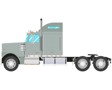semitrailer: Gray old truck-tractor isolated on white background. Vector illustration Illustration