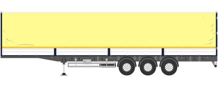 semitrailer: Isolated tent trailer on a white background.  illustration Illustration