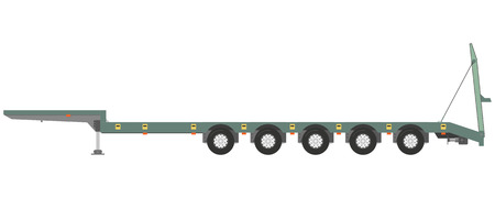 heavy: Isolated trailer trawl on a white background.  illustration