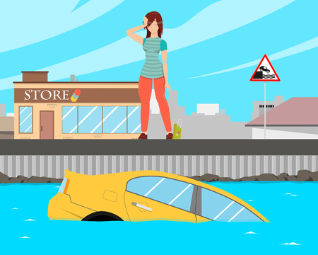 The girl went to the store to shop and forgot to put the car on the handbrake and the car slid into the water. Vector illustration Illustration