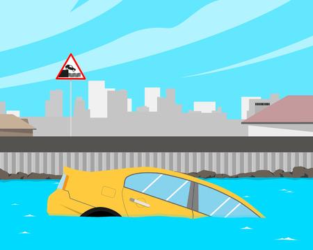 After heavy rain flooded car. Vector illustration