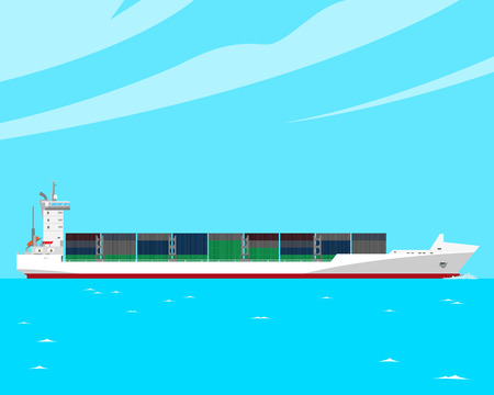 Transport of large quantities of goods and cargo container ship ever cheaper and longer. Vector illustration