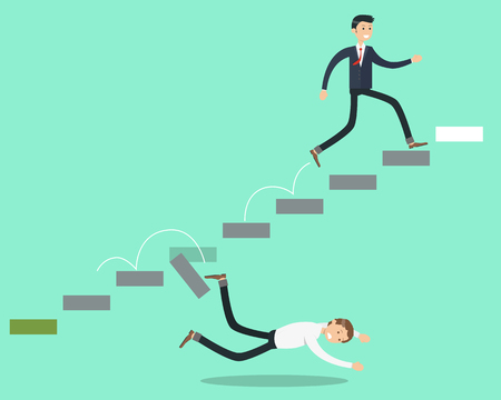 Ambitious man strives for the success of the stairs and his competitor fell who were not able to overcome the difficulties on the way. Vector illustration