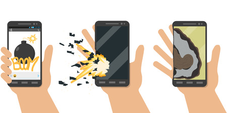 exploded: Explosion phone. Battery explosion. Terrorists using virus programs did overload in battery, and it exploded. Vector illustration