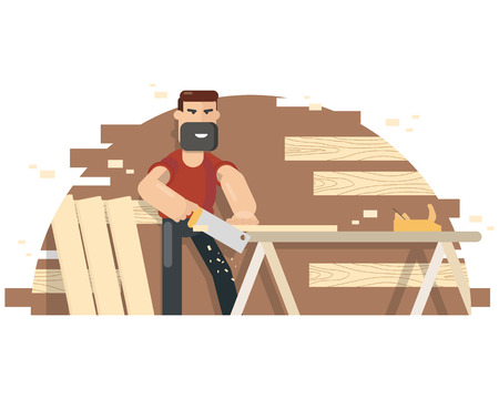 Joiners bench for sawing boards. Woodworking and carpentry. Vector illustration