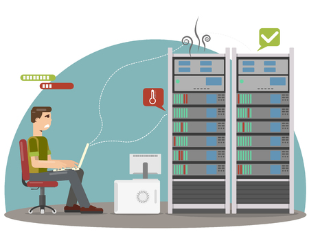 System administrator aback when the server overheated and has broken. Vector illustration