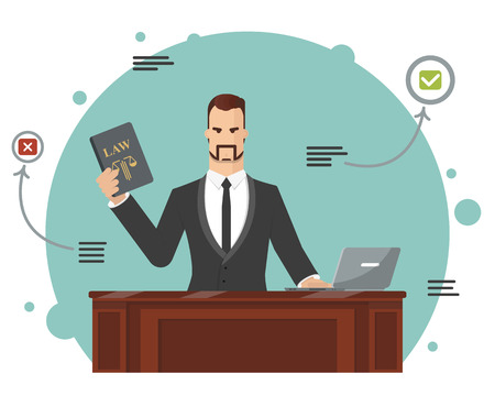 The lawyer tries to find the correct answer. Vector illustration Illustration
