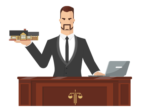 sue: The lawyer is trying to help a client to sue house. Vector illustration