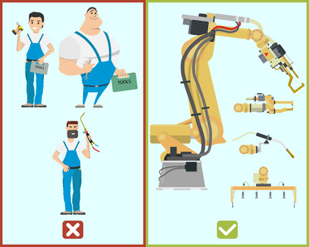 In the future there will be more profitable to build automated production than to hire people. Replacing the people on the robots. Vector illustration