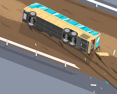 The driver of the passenger bus was tired and fell asleep at the wheel because of this the bus flew off the track and rolled over. Vector illustration Illustration