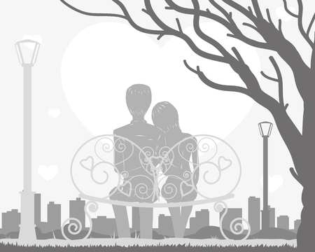 A couple is sitting on a bench in a tree. Vector illustration Vetores