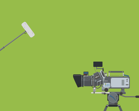 Poster on a green background with a movie camera and a microphone. Vector illustration Ilustração